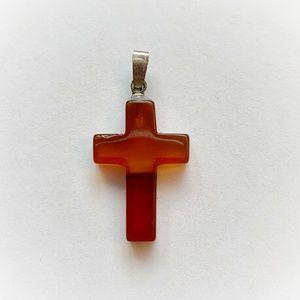 VTG Banded Amber Agate Cross Pendant